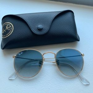 Authentic Rayban round sunglasses - gold/blue